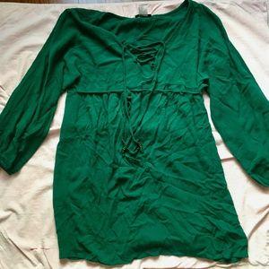 Venus Dark Green Embellished V-Neck Waist Tie Top